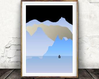 Wall Art, Mountain Print, Minimalist Art, Winter Landscape, Gift, Digital Download, Decor,  Scandinavian Modern Art, Neutral Art, Iceland