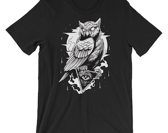 Owl and All Seeing Eye Short-Sleeve Unisex T-Shirt