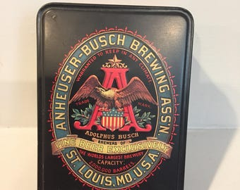 Vintage Budweiser / Anheuser Busch playing cards - still sealed, collector's tin