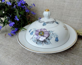 Vintage Butter dish Soviet porcelain kitchen serving blue floral pattern dish butter plate unique butter kitchen decor gift her shabby chic