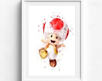 Video game art, mario bros art, super mario poster, mario watercolor, super mario nursery, boys room art, nursery artwork, mario toad