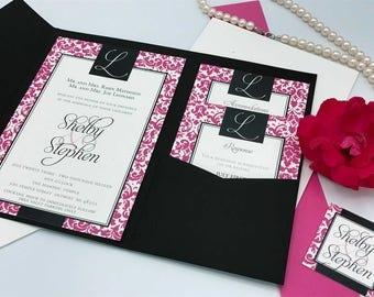 Pink and Black Damask Wedding Invitation Suite