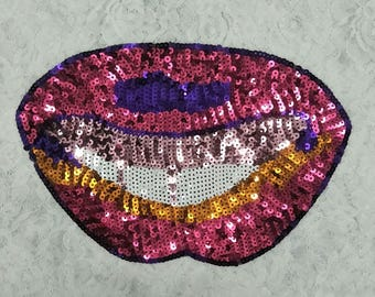 DIY good quality colorful lips sequin patches/sequin applique in stocks