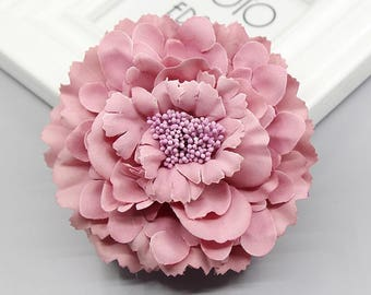 2 Dark Pink Peony Big Flower Hair Clips Brooches 10cm
