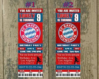 Bayern Munich Birthday Invitation, Soccer, Ticket Invitation, Sport,Birthday, Digital, Invite Printable 300 dpi JPG