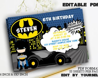 Batman invite etsy batman invitation download editable batman pdf template batman invites batman birthday party pronofoot35fo Choice Image