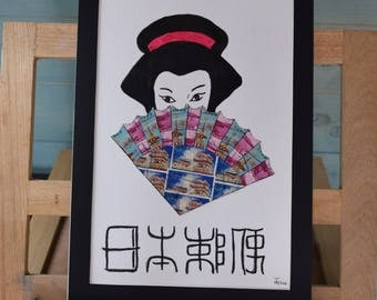 Japanese Fan - Recycled Postage Stamp Art