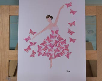 The Ballerina - Recycled Postage Stamp Art
