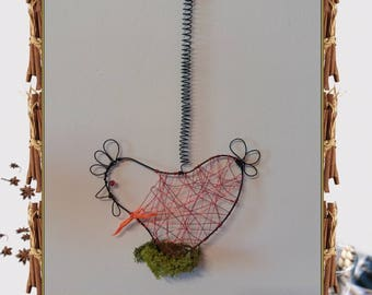 Cot, cot, cot, decorative chicken made of aluminum wire