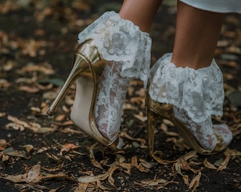 Lace socks for high heels, boots, other shoes. Lace wedding socks