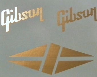 2 Gibson Guitar Logos & 1 Diamond (Romboid) Logo Waterslide Decals Top Quality!