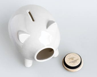 White glossy piggy bank, ceramic, large, Personal gift, housewarming, home decor, Wedding, Kids gift, kids piggy bank, baby shower, PIGZ