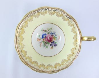 Vintage Royal Albert Hand Painted Teacup and Saucer. Yellow with Multi-Colored Floral Nosegay and Gold Gilt. Made in England. Pattern 2091