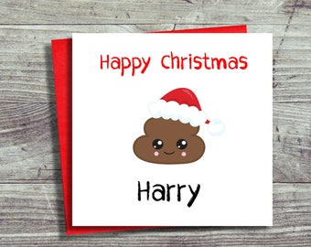 Personalised Christmas Card, Fun Christmas Card, Emoji Card, Card For Him, For Her, Girl, Boy