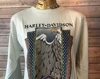 Vintage 90s Harley Davidson 3D Emblem Long Sleeve Shirt (L)