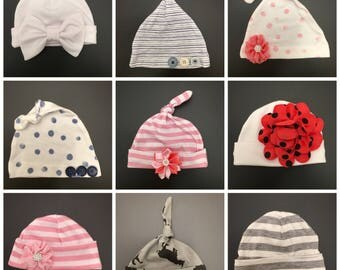 Newborn Baby Hats   Hospital Beanie   Coming Home Hat   Baby Girl Hat   Baby Boy Hat   Knot Hat   Shower Gift