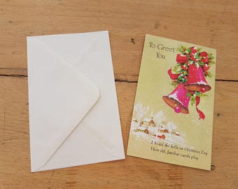 Small Vintage Christmas greetings card, brand new. 1970s, Christmas bells.