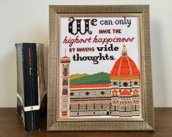 """Pattern - Wide Thoughts (George Eliot, Romola) Florence Duomo - 8""""x10"""" cross stitch chart PDF digital instant download"""