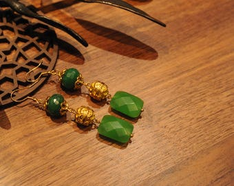 Oriental green and golden earrings - Statement earrings - A Gift for her - Women's drop earrings - Elegant earrings - Gift idea for women