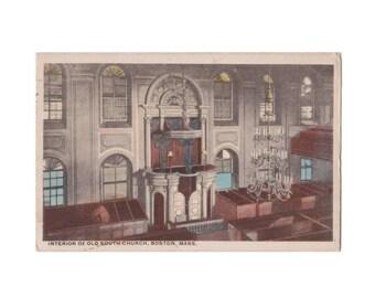 MASSACHUSETTS Interior of Old South Church, Boston - Vintage White Border Postcard, Postmarked 1920