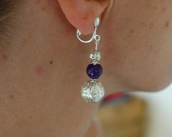 "Earrings clip filigree beads and bead in amethyst glass ""russican amethyst"""