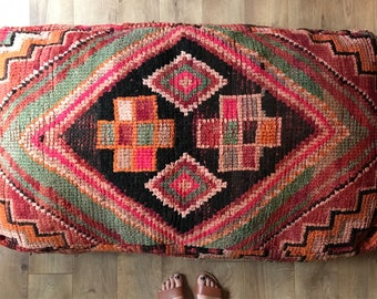 Vintage Moroccan Double Pouf, Moroccan Pouf, Floor Cushion, FREE SHIPPING