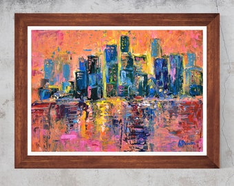 Abstract watercolor Pink sky Town Oil Painting Canvas Art  Print