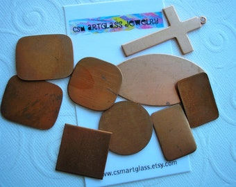 Copper Blanks for Enameling, Vintage Copper, Nine Shapes, Enameling, Copper Stamping, Jewelry Making, Metal for Jewelry, Jewelry Supplies