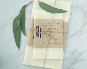 2 Beeswax BAGS | Organic, Reusable Food Wrap |  Biodegradable | Handmade with 100% natural ingredients.