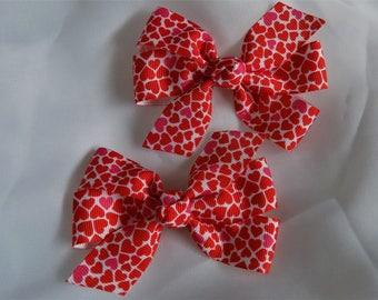 Hearts Galore Hair Bow - Girls hair bow, Heart hair bow, Hair bow for girl, Grosgrain hair bow, Toddler hair bow, Hair accessory for girl