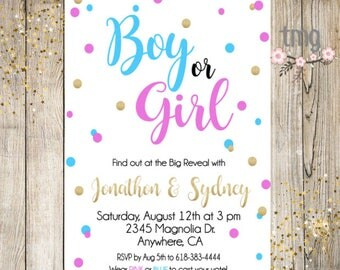 Gender Reveal Invitation, Boy or Girl, Pink and blue, Gold, Baby, invite, Digital File, printable invitation