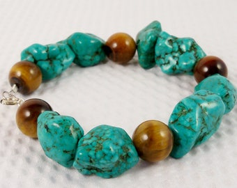 Turquoise and Tiger Eye Bracelet, Turquoise Bracelet, Chunky Turquoise and Tiger Eye Jewelry, Handmade, Semiprecious, Green Stone,Brown Bead