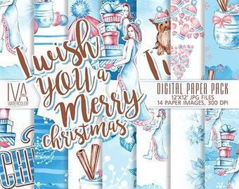 Christmas Digital Paper pack, Winter Digital Paper, Christmas Seamless Patterns, Christmas Digital paper, Yorkshire terrier, Snowflake