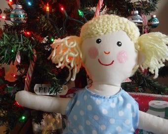 Heirloom doll, Fabric Doll, Rag Doll, Blonde Doll, Yarn Hair Doll
