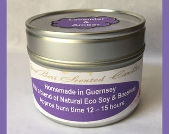 Lavender and Amber Medium Soy Candle Tin