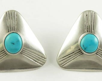 Hand Crafted Native American Indian Navajo Sterling Silver & Turquoise Earrings