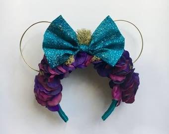 Moss Wall Floral Headband in Pandora Print