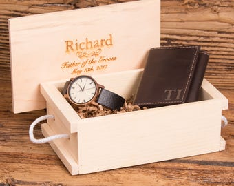Monogram Wallet, Wood Watch, Groomsmen, Father of the Bride, Christmas, Gifts for Him, Grandfather, Christmas, Fathers Day, Box WS006&2417BR