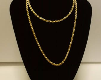 """Fantastic Heavy Quality Gold Plated Flapper Length Rope Chain Necklace 30"""" 8mm 25grms Christmas Gift, Wedding Jewellery."""