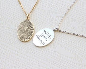 Fingerprint Necklace - Unique Sympathy Gift in Sterling Silver - Delicate Personalized Fingerprint Necklace For Her - Mother's Day Gifts