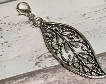 Leaf purse charm, silver zipper charm, leaf purse zipper, cute zip charm, zip charm, decorative leaf purse charm, purse accessory, zip