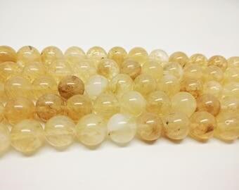 Yellow Quartz Beads Round Yellow Quartz 8mm Yellow Quartz Beads  Yellow Quartz 12mm Yellow Quartz 15.5 inch Full Strand Yellow Beads