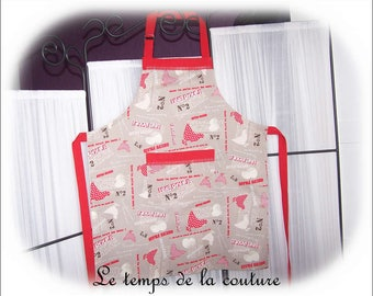"""Apron - woman - taupe, red and ecru tones pattern """"chicken and egg"""" - handmade"""