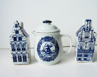 Vintage  salt/pepper porcelain shakers and creamer with lid . Made in Holland (#EV222)