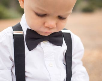 Black Toddler Bow Tie Set, Ring Bearer Outfit, Cake Smash Outfit, Black Suspenders, 1st Birthday Outfit, Toddler Suspenders, Black Bow Tie