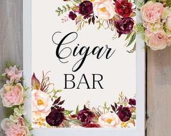 Cigar bar Wedding Sign Digital Floral Marsala Burgundy Peonies Wedding Boho Printable Bridal Decor Gifts Poster Sign 5x7 and 8x10 - WS-024