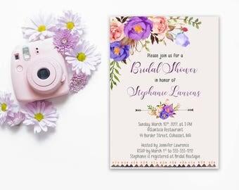 Bridal Shower Invitation Printable Floral Digital Wedding Purple Violet Lavender Watercolor Wedding Bohemian Bridal Shower Invite WS-038