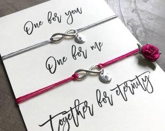 Couples bracelet, Couples bracelet set, Initial bracelet set, Infinity bracelet, Infinity, Friendship bracelet set, Best friend gift, A78