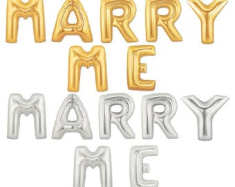 """Giant MARRY ME, large balloons, balloon letter, 16"""" or 40"""", Gold or Silver, Wedding balloons, Party Decor"""