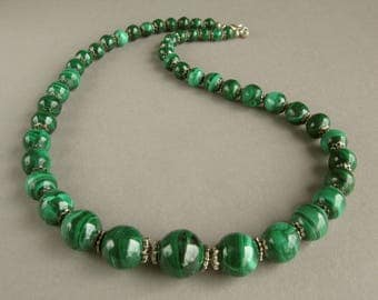 Malachite necklace, Old natural malachit, Handmade necklace